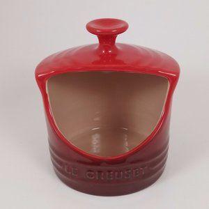 Le Creuset Salt Crock Celler Cerise Red 10 oz EUC